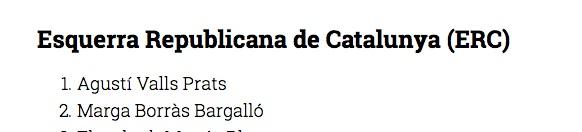 Lista ERC Pobla Mafumet Tarragona